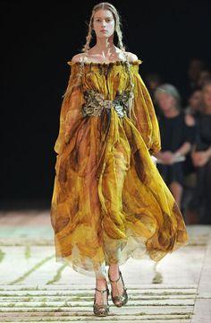 Earthy yet stern gown.
