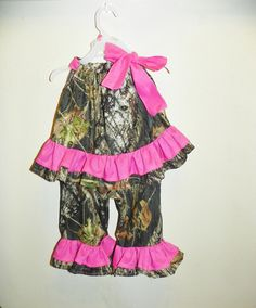 MOSSY OAK Camo camouflage top and matching pants with pink ruffles girl 5t 6. $48.00, via Etsy.