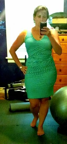 Kinda blurry but at least you can see how it fits. Dot dress.