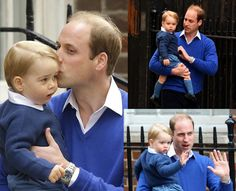 Prince George and Prince William at St. Mary's Hospital (May 2015).