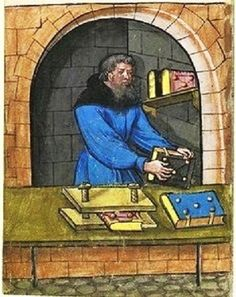 Bookbinder. Landauer Twelve Brothers House manuscript 1400s