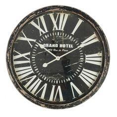 Brown/Black 60cm Round Wall Clock - Wood Frame - Grand Hotel - Roman Numerals