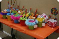 Bright sweet shop theme- great favor pails!
