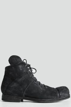 PREACH   Reversed horse leather laced ankle boots   Black