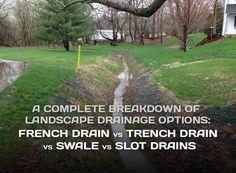 Backyard Drainage, Landscape Drainage, Drainage Ditch, Yard Drainage System, Backyard Stream, Stone Landscaping, Driveway Landscaping, Landscaping Ideas, Driveway Ideas