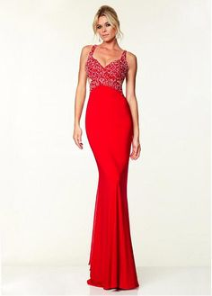 Chic Chiffon Spaghetti Straps Neckline Floor-length Sheath Prom Dress