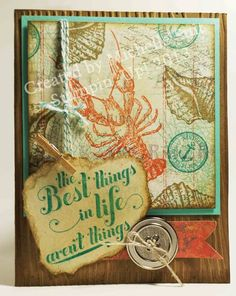 """Things are just """"beachy"""".  Card made with Stampin' Up!'s """"By the Tide"""" and """"Feel Goods"""" stamp sets.  #diy  #papercrafts  #summer  #beach  #suitablystamped"""