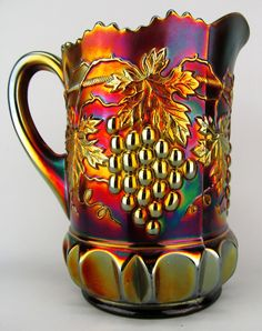 Northwood Grape and Cable Carnival Glass Pitcher Vintage Dishes, Vintage Pyrex, Antique Glassware, Vintage Carnival, Fenton Glass, Glass Company, Indiana Glass, Glass Collection, Colored Glass