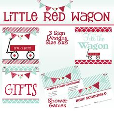 Little Red Wagon Baby Boy Shower PRINTABLE Party Package. $33.00, via Etsy.