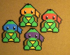Perler Bead Teenage Mutant Ninja Turtle Keychains