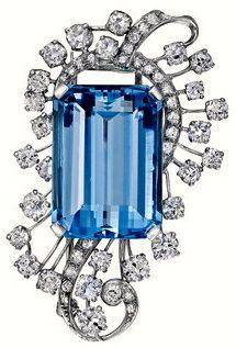 Estate Betteridge Aquamarine & Diamond Spray Brooch