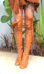 Tan Over The Knee High Leather Boots With Tan Lacing