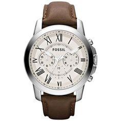 Fossil Mens Grant Aço Inoxidável Cronógrafo e relógio de couro