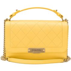 Pre-Owned Chanel Yellow Caviar Medium Label Click Flap Bag ($5,115) ❤ liked on Polyvore featuring bags, handbags, yellow, quilted purses, top handle purse, yellow leather handbags, quilted handbags and leather handbags