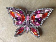 Beautiful Kenneth Lane Rhinestone Butterfly Brooch Signed