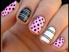 98 Inspirational Easy Nail Art Designs for Beginners - Beauty Ideas Cute Easy Nail Designs, Nail Art Designs 2016, Colorful Nail Designs, Nail Designs Spring, Colourful Nails, Dot Nail Art, Polka Dot Nails, White Nail Art, Striped Nails