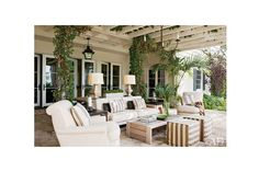 Honeysuckle climbs the trellis of actor Hank Azaria's outdoor living room, which is furnished with Trip Haenisch-designed seating upholstered in Perennials outdoor fabrics; the cocktail table is by Holly Hunt.Pin it.See how top designers and architects are decorating their dining rooms From bright lemon to rich saffron, discover beautiful yellow rooms from the pages of AD See the special board of holiday inspiration fashion designer Jenni Kayne is curating just for AD Follow AD on Pinterest…