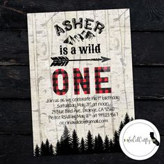 Wild One / Lumberjack / Woodland Woods / Mountains / Arrow / Buffalo Plaid Birthday Party Invitation by SoCalCrafty. Printed or Printable. $16+