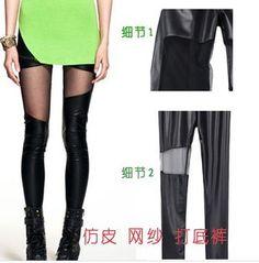 Free Shipping Korean Style Fashion women Leggings! Mesh splice women Leggings Skinny Stretch Pants for spring summer and fall