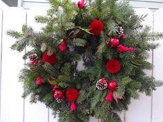 Christmas Wreath Fresh Evergreen Wreath Cedar Wreath Natural Wreath Red Cardinal Wreath Holiday Wreath Holiday Gift Fragrant Wreath