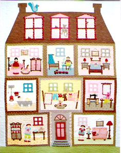It's A Dollie's Life - this is a fun applique and pieced quilt PATTERN from Rosalie Quinlan. Originally done as a Block of the Month, it is now available in one complete pattern with all the block instructions included. Quilt Baby, Dollhouse Quilt, Rosalie, Doll Quilt, Mini Quilts, Felt Dolls, Applique Quilts, Art Plastique, Quilting Projects