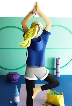 Katrin Rodegast Paper Art Illustration Yoga