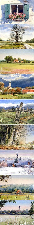 阳光和田园的无限美好。作者;水彩画家Ernst Grillhiesl