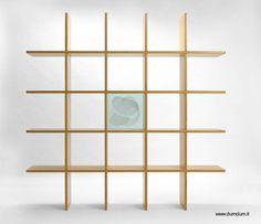 Mueble moderno para interiores, estantería cuadrada de madera.