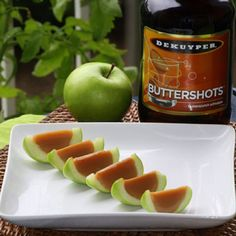 So we tried apples... and guess what?  YUM.  Especially with my caramel flavored butterscotch schnapps jello.   (If you wanted something with a little bit more alcohol content you could always try them out with Van Gogh Dutch Caramel Vodka instead of butterscotch schnapps)  Shopping List (makes about 40 slices/shots)  10 small granny smith apples 1 envelope knox gelatin 1/2 cup water 1/2 cup coconut milk 2 drops yellow food coloring 1 envelope Land o Lakes caramel hot chocolate (Regular…