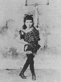 My great-grandmother Mary Sole, founder of Sole Brother's Circus, as a six year old girl. Mary worked as a trapeze artist in her family's circus - Eroni Brothers. This picture of Mary inspired the character of Violet in 'Becoming Billy Dare'.