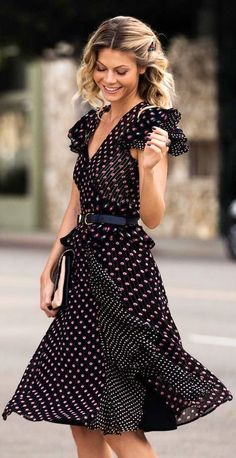 #winter #fashion / Black Printed Dress