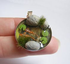 koi fish pond necklace pond pendant zen necklace miniature food jewelry mini food jewelry japanese fish koi carp goldfish pond yoga - The world's most private search engine Polymer Clay Miniatures, Polymer Clay Art, Resin Art, Goldfish Pond, Japanese Goldfish, Diy Jewelry To Sell, Deco Nature, Diy Resin Crafts, Handmade Jewelry Designs