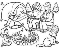 Girl Scout Camping Coloring Pages. Camping is an outdoor recreational activity that is carried out at night. This activity is generally carried out for recreation or refreshing to escap. Summer Coloring Sheets, Camping Coloring Pages, Family Coloring Pages, Coloring Pages To Print, Coloring Book Pages, Coloring Pages For Kids, Camping Theme, Camping Crafts, Camping Ideas