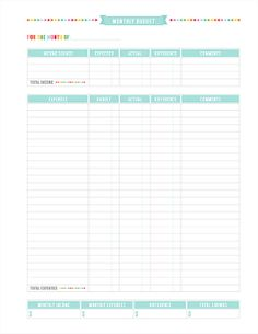 Monthly Budget Printable PDF Planner Page - instant download