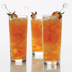 """Strawberry-Lemon Mojitos Strawberries sweeten these mojitos from Joaquin Simo. """"This is a great drink when you're in the mood for something fruity,"""" says Simo. Use a molasses-based rum (like white Brugal) for a smoother drink, or a sugarcane-based rum (such as white Barbancourt) for a drier cocktail."""