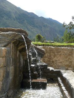 "Inca fountains at Ollantaytambo, near Cusco, Pero. Repinned by Elizabeth VanBuskirk, author of ""Beyond the Stones of Machu Picchu,"" short stories that reveal incidents of life, conflict, belief systems, respect for nature in Inca villages today."