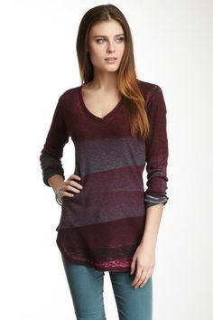 San Fran Stripes V-Neck Thermal by Go Couture on @HauteLook
