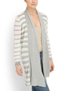 Striped Shawl Collar Cardigan - Tops - T.J.Maxx