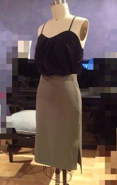 Rib knit khaki split skirt