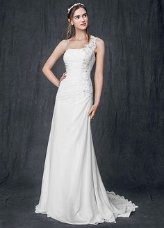 One Shoulder Chiffon Gown with Floral Appliques AI10020500