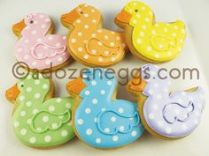 A Dozen Eggs Bake Shoppe | Baby Cookie Collections - Polka Dot Rubber Ducky Cookies - Soooooo cute for a baby shower!