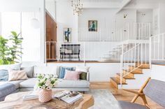 Emily Henderson_Living Room_Staged To Sell_Boho_Mid Century_Eclectic_Blue_White_Styled_Couch_Sectional_Staged5