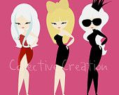 Lady Gaga Dolls Digital Clipart - Personal and Commercial Use - Card Making, Scrapbooking, Paper Crafts etc
