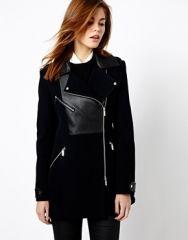 Karen Millen  Karen Millen Coat with Zip Detail and Leather Look Panels at Asos