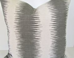 Gray PILLOWS 18x18 ikat Throw Pillow Covers Gray pillow shops Grey Striped Decorative Throw pillows Home and Living