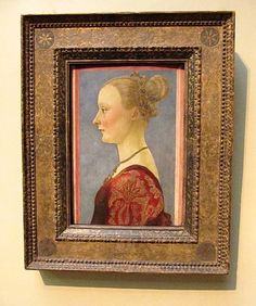 "Most Likely original Frame from 1441 for ""Portrait of a Woman"" by Pollaiuolo. See close up near by... Original Christian Orlov photo, (C) 2015."