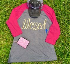 Blessed Baseball Jersey T Shirt with Gray Center and Hot Pink Sleeve and Blessed Charcoal Trucker Hat by HeyYallandCo on Etsy