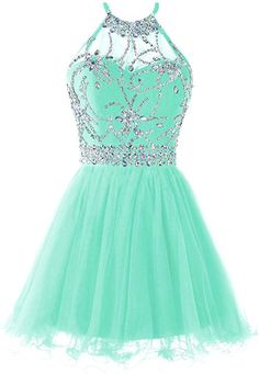 Shop a great selection of Musever Women's Halter Short Homecoming Dress Beading Tulle Prom Dress. Find new offer and Similar products for Musever Women's Halter Short Homecoming Dress Beading Tulle Prom Dress. Teal Homecoming Dresses, Pretty Prom Dresses, Tulle Prom Dress, Elegant Dresses, Beautiful Dresses, Awesome Dresses, Pretty Dresses For Teens, Sparkly Dresses, Unique Dresses