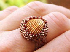 Beaded Ring Sea cockleshell.  Sea Shell. Natural shell, Aegean Sea, Gold Rose Delica.