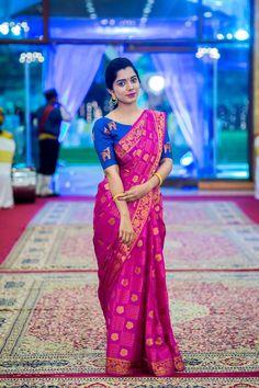 #saree #pinksaree #contrastblouse #indiansaree #wedding #indian #maggamwork #traditional #saree #indianwear #pinkbanaras #banaras #blueblouse